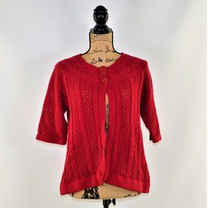 Croft& Barrow 3/4 sleeve cable knit red cardigan